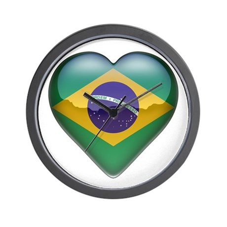 Brazil Heart Wall Clock