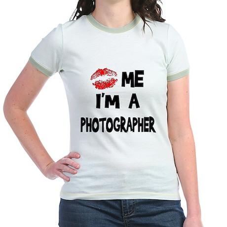 Kiss Me I'm A Photographer. Jr. Ringer T-Shirt