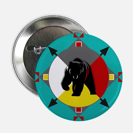 "Cherokee Four Directions Bear 2.25"" Button"