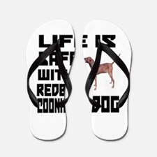 Life Is Safe With A Redbone Coonhound D Flip Flops