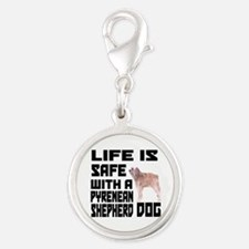 Life Is Safe With Pyrenean She Silver Round Charm