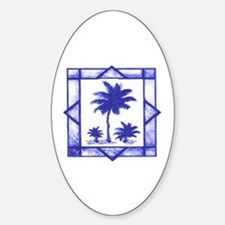 Blue Palms Oval Decal