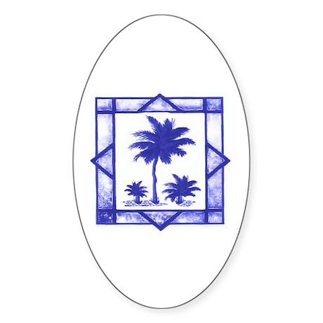 Blue Palms Oval Sticker