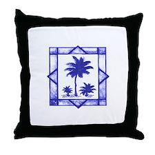 Blue Palms Throw Pillow