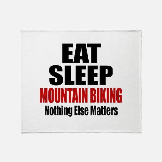Eat Sleep Mountain Biking Throw Blanket