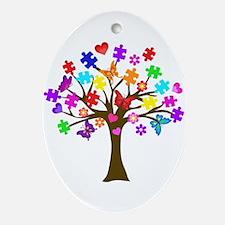 Autism Awareness Tree Oval Ornament