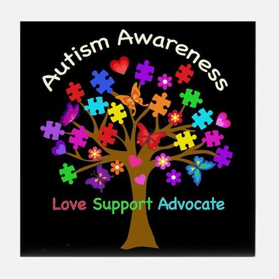 Autism Awareness Tree Tile Coaster