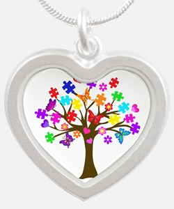 Autism Awareness Tree Silver Heart Necklace