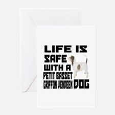 Life Is Safe With A Petit Basset Gri Greeting Card