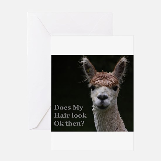Alpaca with funny hairstyle Greeting Cards