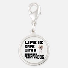 Life Is Safe With A Peekapoo D Silver Round Charm