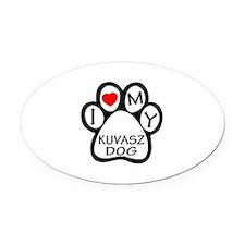 I Love My Kuvasz Dog Oval Car Magnet