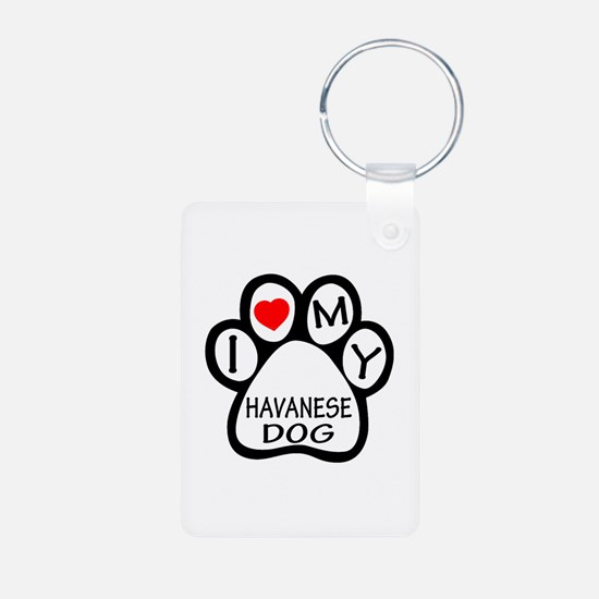 I Love My Havanese Dog Aluminum Photo Keychain