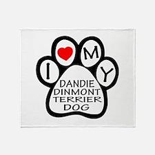 I Love My Dandie Dinmont Terrier Dog Throw Blanket