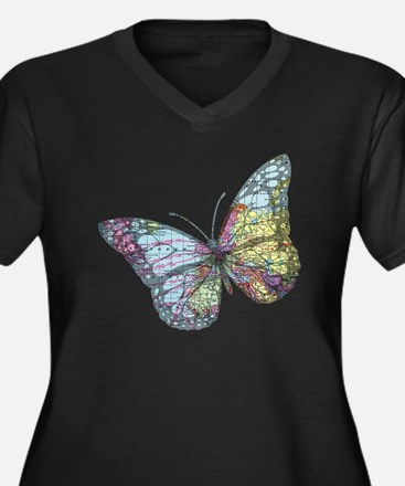 Unique Travel bug Women's Plus Size V-Neck Dark T-Shirt