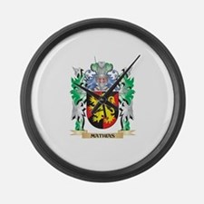 Mathias Coat of Arms - Family Cre Large Wall Clock