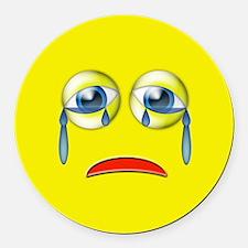 Sad Emoji Round Car Magnet