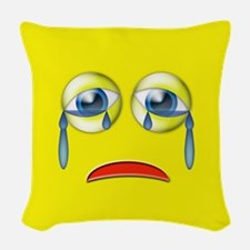 Sad Emoji Woven Throw Pillow