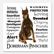 "Doberman Traits Square Car Magnet 3"" x 3"""