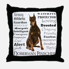 Doberman Traits Throw Pillow