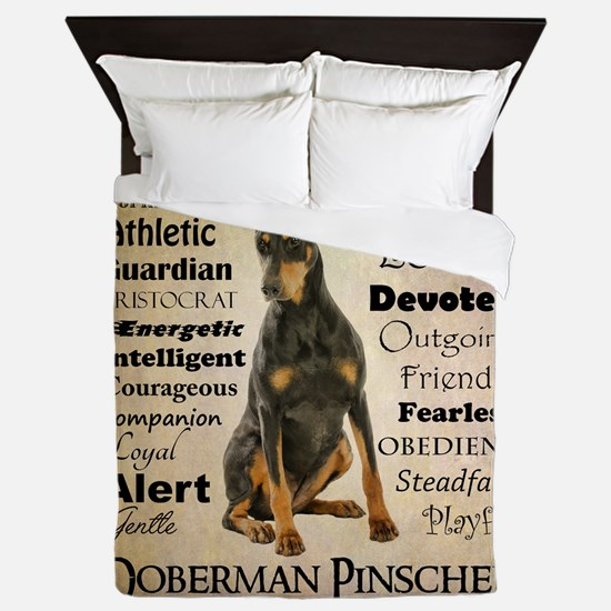 Doberman Traits Queen Duvet