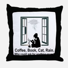 COFFEE, BOOK, CAT, RAIN Throw Pillow