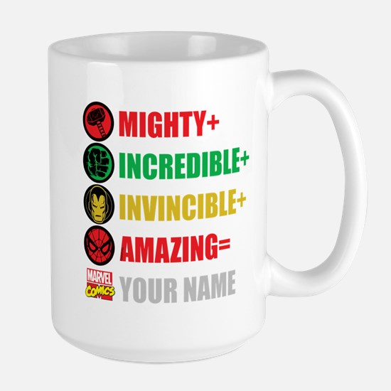 Mighty Incredible Invincible Amazing Pe Large Mug