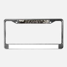 Black and White Rose Bouquet License Plate Frame