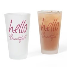 Gifts for Her Hello Beautiful Pink Drinking Glass