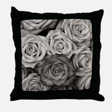 Black and White Rose Bouquet Throw Pillow