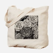 Black and White Rose Bouquet Tote Bag