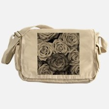 Black and White Rose Bouquet Messenger Bag