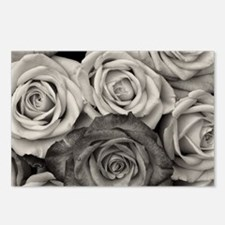 Black and White Rose Bouq Postcards (Package of 8)