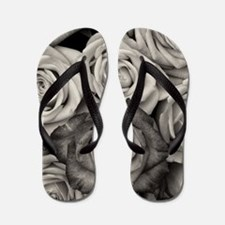 Black and White Rose Bouquet Flip Flops