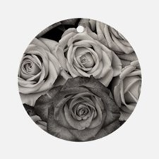 Black and White Rose Bouquet Round Ornament