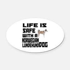 Life Is Safe With A Norwegian Lund Oval Car Magnet