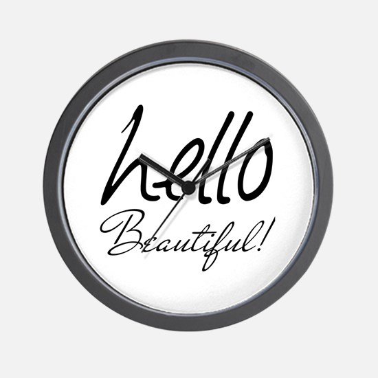 Gifts for Her Hello Beautiful Black Wall Clock