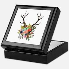 Antlers with Flowers Keepsake Box
