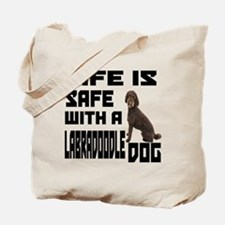 Life Is Safe With A Labradoodle Tote Bag