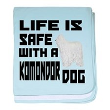 Life Is Safe With AKomondor Dog baby blanket