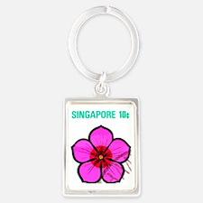 Pretty Singapore Flower Portrait Keychain