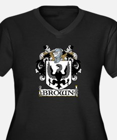 Brown Coat of Arms Women's Plus Size V-Neck Dark T
