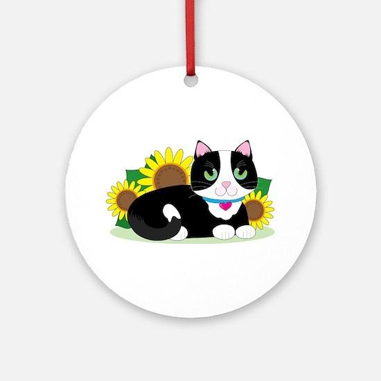 Tuxedo Cat Round Ornament