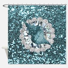 Aquamarine Seashell Jewel Faux Shower Curtain