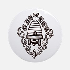 """""""Beehive & Bees"""" Ornament (Round)"""