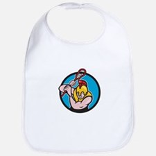 Gladiator Lacrosse Player Stick Circle Cartoon Bib