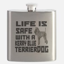 Life Is Safe With A Kerry Blue Terrier Dog Flask
