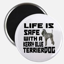 Life Is Safe With A Kerry Blue Terrier Dog Magnet