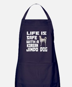 Life Is Safe With A Jindo Apron (dark)