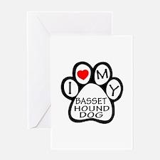 I Love My Basset Hound Dog Greeting Card